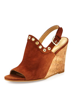 Eyeliner Suede Wedge Sandal, Brown
