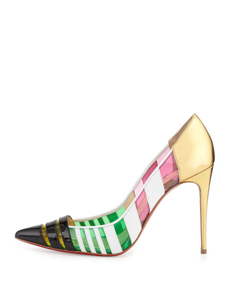 Bandy Multicolor Striped Red Sole Pump