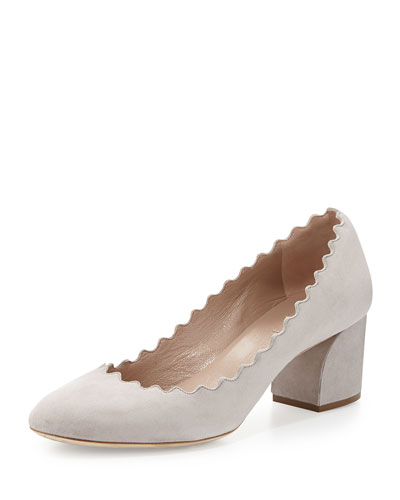 Scalloped Leather Pump, Cloud Gray