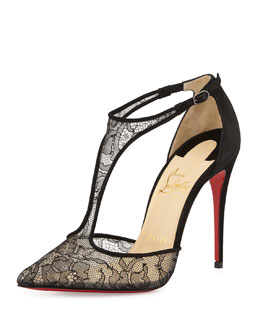 Salonu Chantilly Lace T-Strap Red Sole Pump, Black