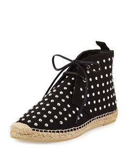 Studded Canvas High-Top Espadrille Sneaker, Black