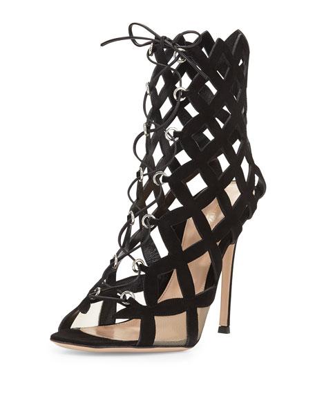 Lattice Caged Lace-Up Sandal, Black