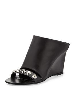 Studded Leather Mule Sandal, Black