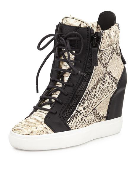 49b86d85e6e Giuseppe Zanotti Snake-Embossed Metallic-Painted Wedge Sneaker ...