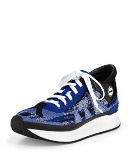 Mixed Pattern Knit Sneaker, Blue