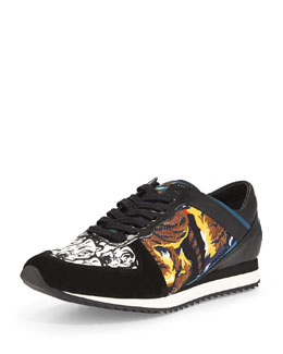 Tiger-Print Lace-Up Sneaker, Blue