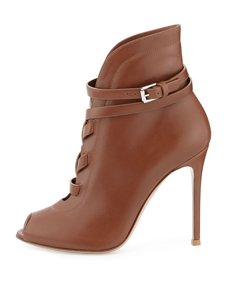 Peep-Toe Leather Lace-Up Bootie, Tan