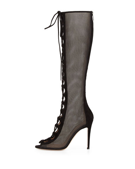 Suede Lace-Up Mesh Tall Boot, Black