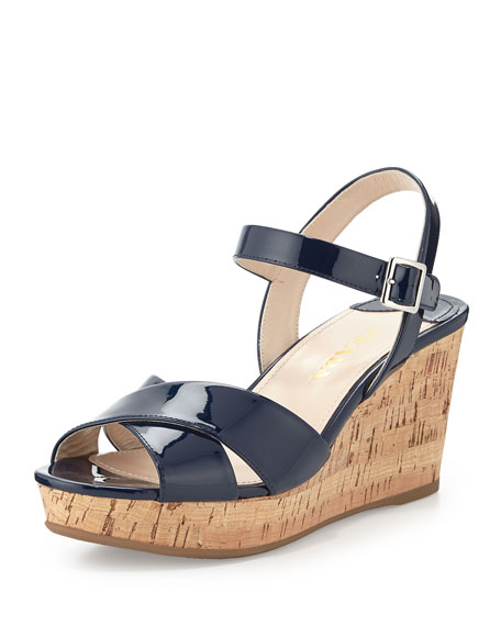 5dd8cd7bf0986 Prada Patent Leather Wedge Sandal, Navy