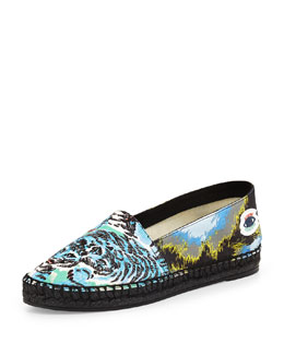 Tiger-Print Canvas Espadrille Flat, Turquoise