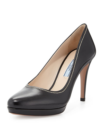 Leather Almond-Toe Pump, Black