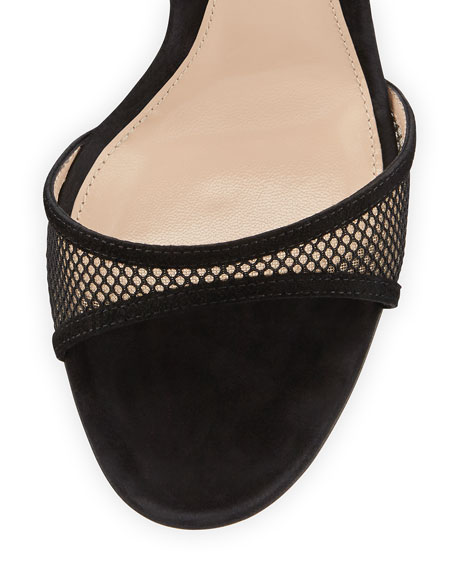 Suede & Mesh Fan Sandal, Black