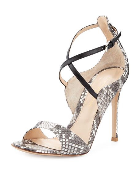 Python Crisscross Ankle-Wrap Sandal, Gray