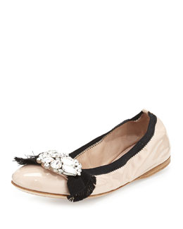 Patent Jeweled-Bow Ballet Flat, Pink