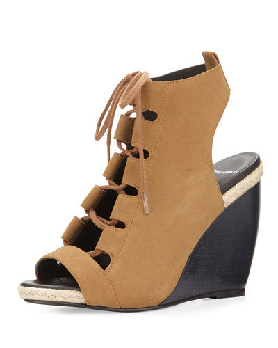 Suede Lace-Up Wedge Sandal, Black/Tan