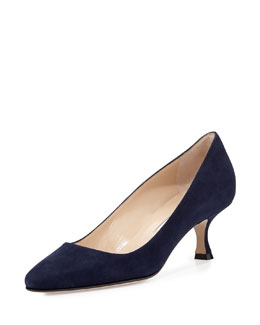 Sena Suede Almond-Toe Pump, Navy