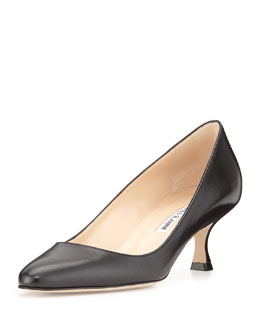 Sena Leather Almond-Toe Pump, Black