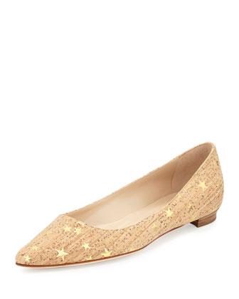 Manolo Blahnik Titto Golden Star Cork Flat, Gold