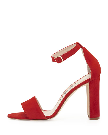 Laurato Chunky Sandal Red Suede Heel AjL4R5
