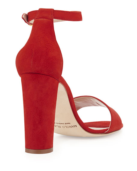 Laurato Suede Chunky-Heel Sandal, Red