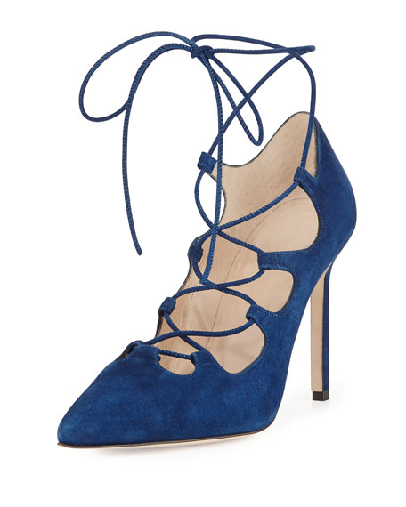 Rogustta Lace-Up Point-Toe Pump, Blue