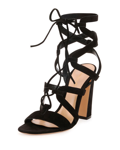 Suede Lace-Up Caged Sandal, Black