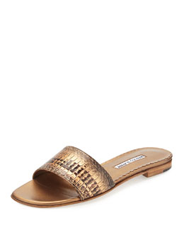 Falco Snakeskin Slide Sandal, Gold
