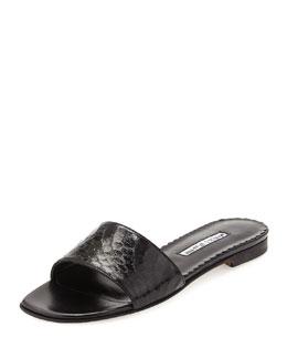 Falco Snakeskin Slide Sandal, Black