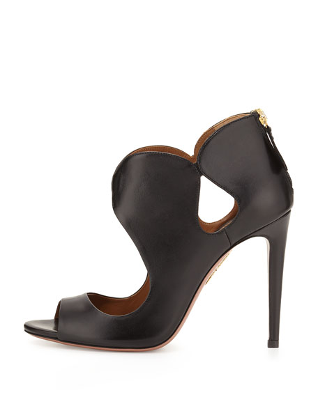 Elle Cutout Leather Bootie, Black