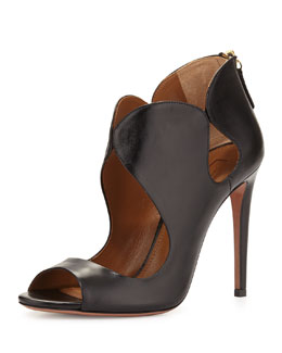 Elle Cutout Leather Bootie, Black