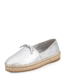 Metallic Leather Cap-Toe Flat Espadrille, Silver