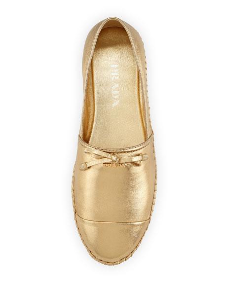prada womens bags prices - Prada Metallic Leather Cap-Toe Flat Espadrille, Gold