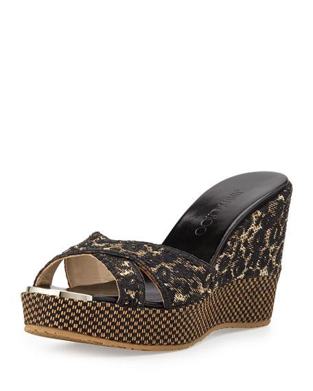 b7ef4ca6fa1 Jimmy Choo Pandora Leopard-Print Crisscross Slide Sandal
