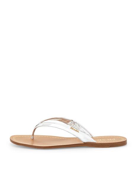 23f5cf55452904 Prada Metallic Leather Logo Thong Sandal