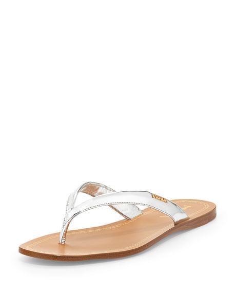 13593a066 Prada Metallic Leather Logo Thong Sandal