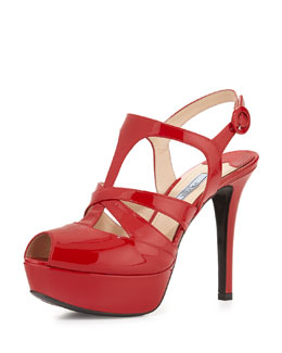 Crisscross Strappy Patent Sandal, Red
