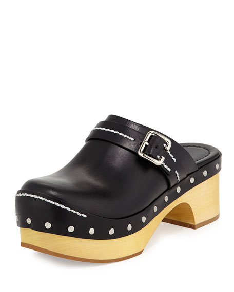 3040cce85a5 Prada Studded Leather Platform Clog Sandal