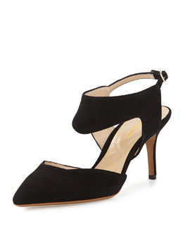 Suede Cutout Point-Toe Pump, Black