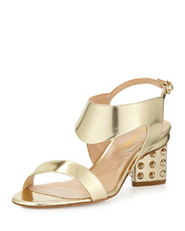 Metallic Cutout Spiked Sandal, Gold