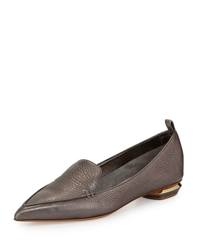 Metallic Point-Toe Loafer, Gray