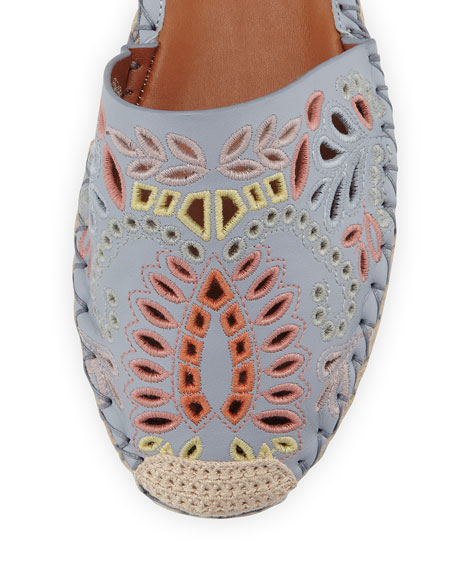 Floral-Embroidered Ankle-Wrap Espadrille, Blue