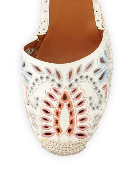 Valentino floral embroidered wedge espadrille ivory