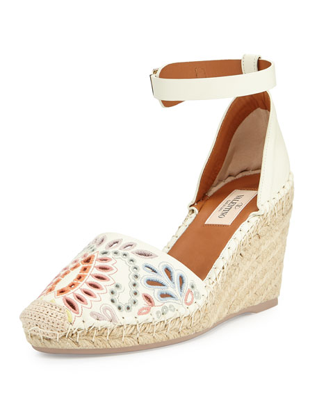 Floral-Embroidered Wedge Espadrille, Ivory