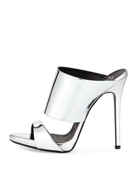 46723e3c0f827 Giuseppe Zanotti Metallic Stiletto Mule Slide, Silver