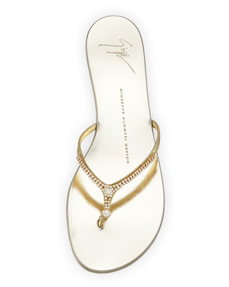 Metallic Crystal Thong Sandal, Gold