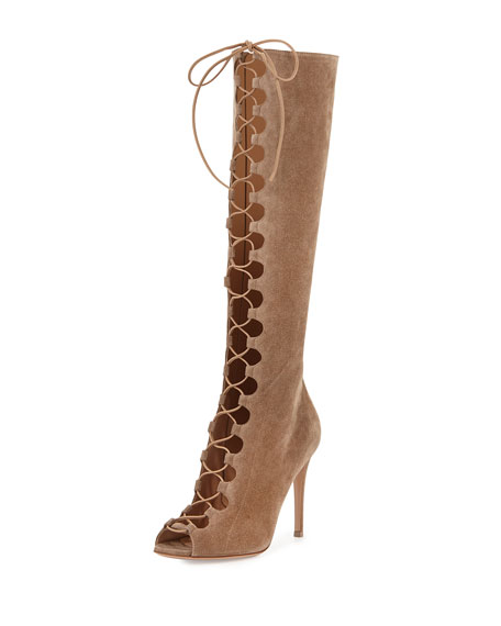 Suede Lace-Up Peep-Toe Knee Boot, Bisque