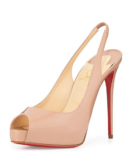Private Number Patent Peep-Toe Red Sole Slingback, Neutral
