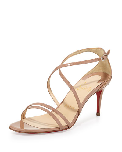Gwinee Patent Crisscross Red Sole Sandal, Neutral