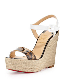 Spachia Leopard Red Sole Espadrille, Brown