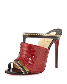 Akenana Python Red Sole Mule Pump, Black/Red